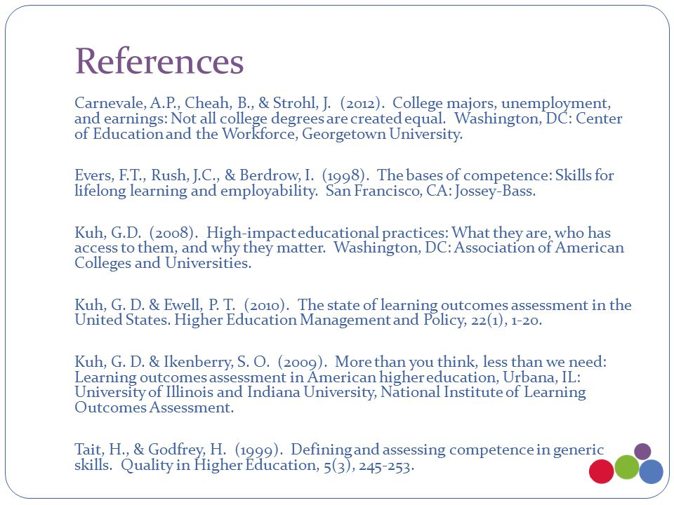 References Carnevale, A.P., Cheah, B., & Strohl, J.