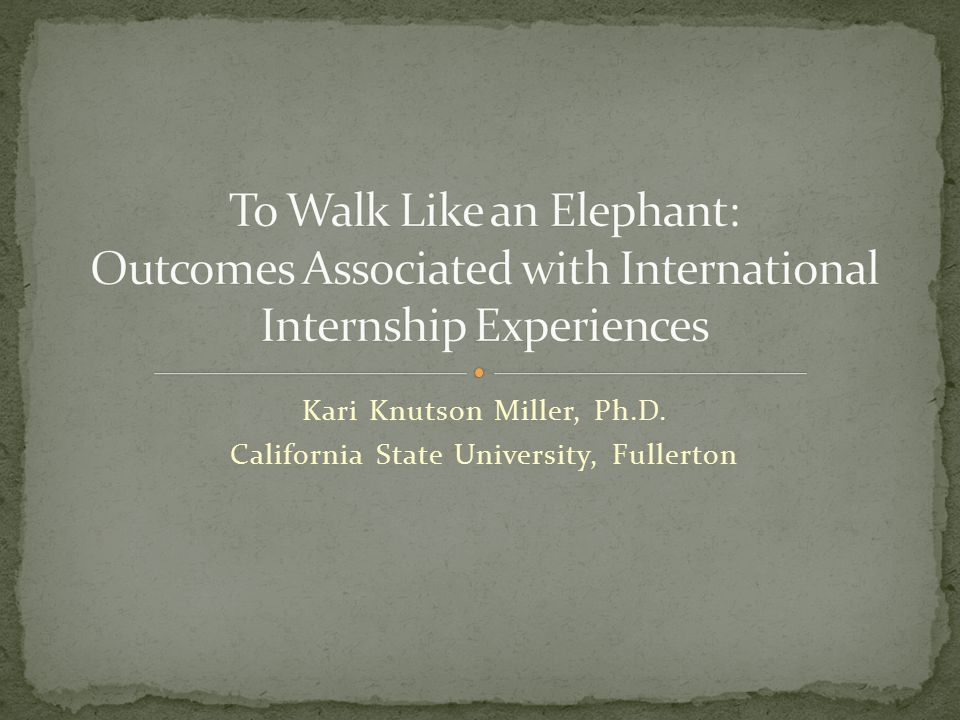 Reported post-experience internship outcomes included (in order of strength): Awareness of global issues /needs (M = 1.17, SD =.48) Understand differences in communication styles and relate effectively with people from diverse backgrounds (M = 1.25, SD =.53) Understand English Language Learners (M = 1.25, SD =.44) Analyze situations and issues from different perspectives (M = 1.29, SD =.55) Identify personal strengths and weaknesses (M = 1.33, SD =.48) Work effectively with children from diverse cultural and linguistic backgrounds (M = 1.33, SD =.48) Effectiveness interacting in diverse cultural contexts (M = 1.35, SD =.49) Quantitative analysis of pre/post internship surveys indicated statistically significant differences.