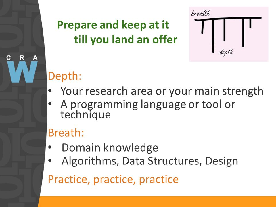Prepare and keep at it till you land an offer Depth: Your research area or your main strength A programming language or tool or technique Breath: Domain knowledge Algorithms, Data Structures, Design Practice, practice, practice