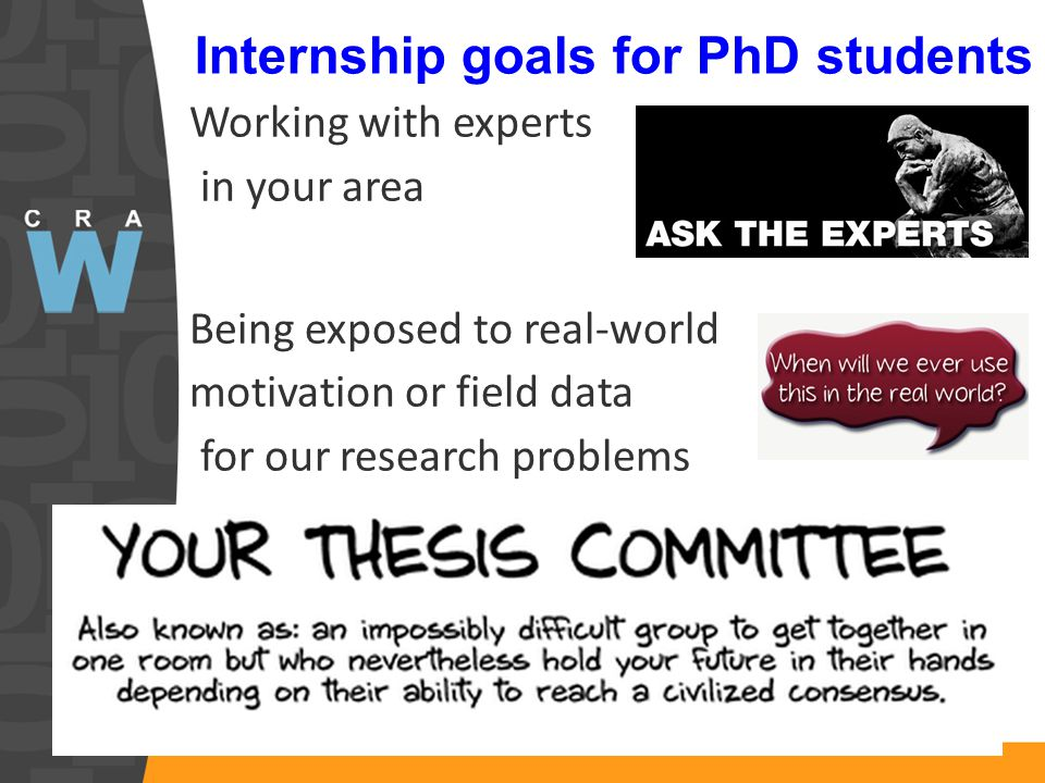 Internship goals for PhD students Working with experts in your area Being exposed to real-world motivation or field data for our research problems Rounding out experts advising you on