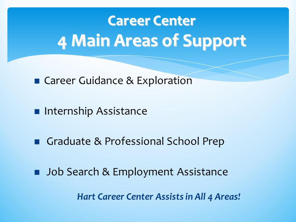  Career Guidance & Exploration  Internship Assistance  Graduate & Professional School Prep  Job Search & Employment Assistance Hart Career Center