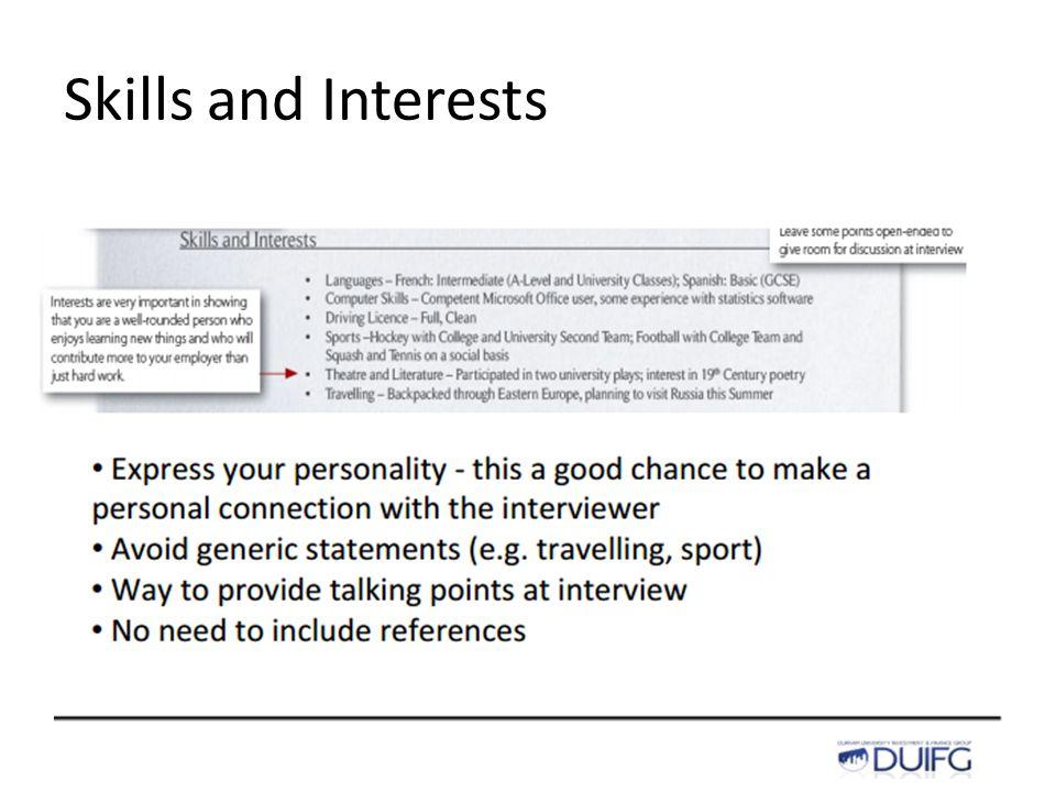 Skills and Interests