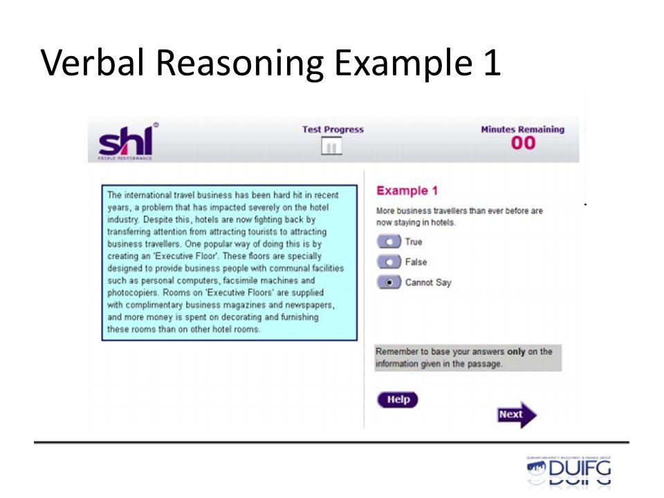 Verbal Reasoning Example 1