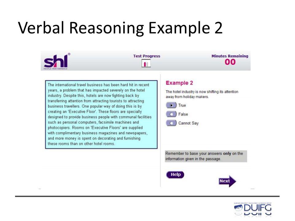 Verbal Reasoning Example 2