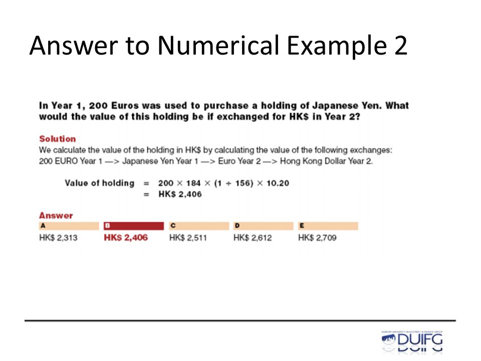 Answer to Numerical Example 2