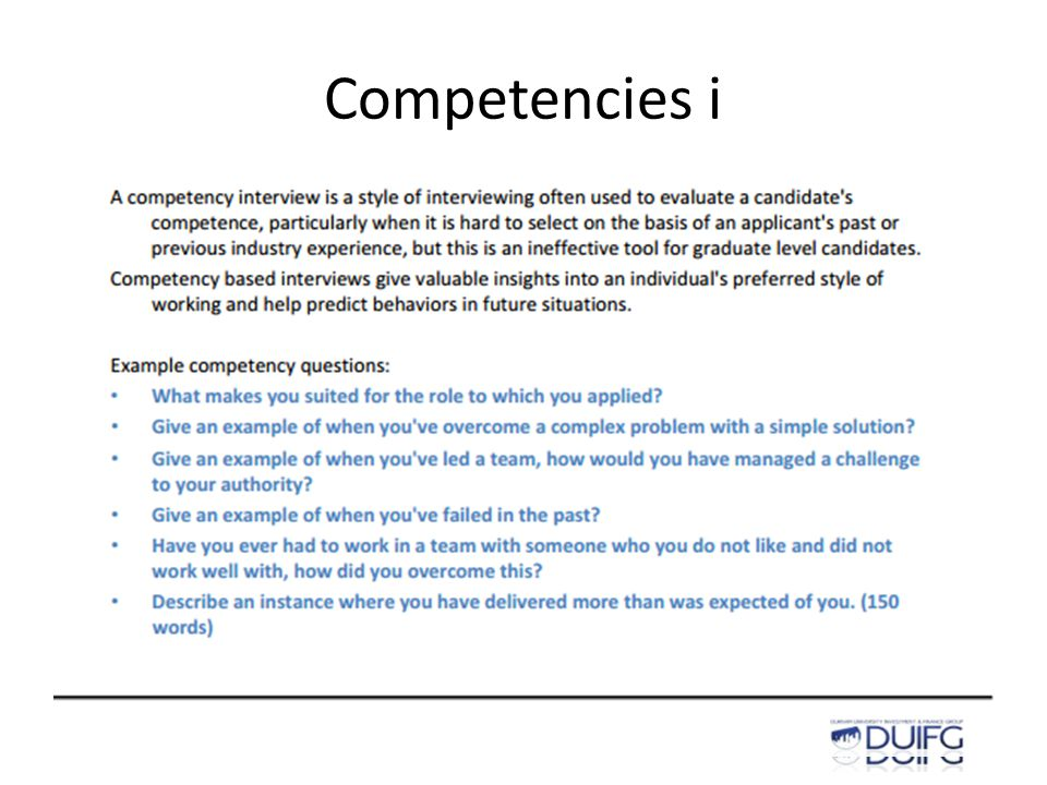 Competencies i