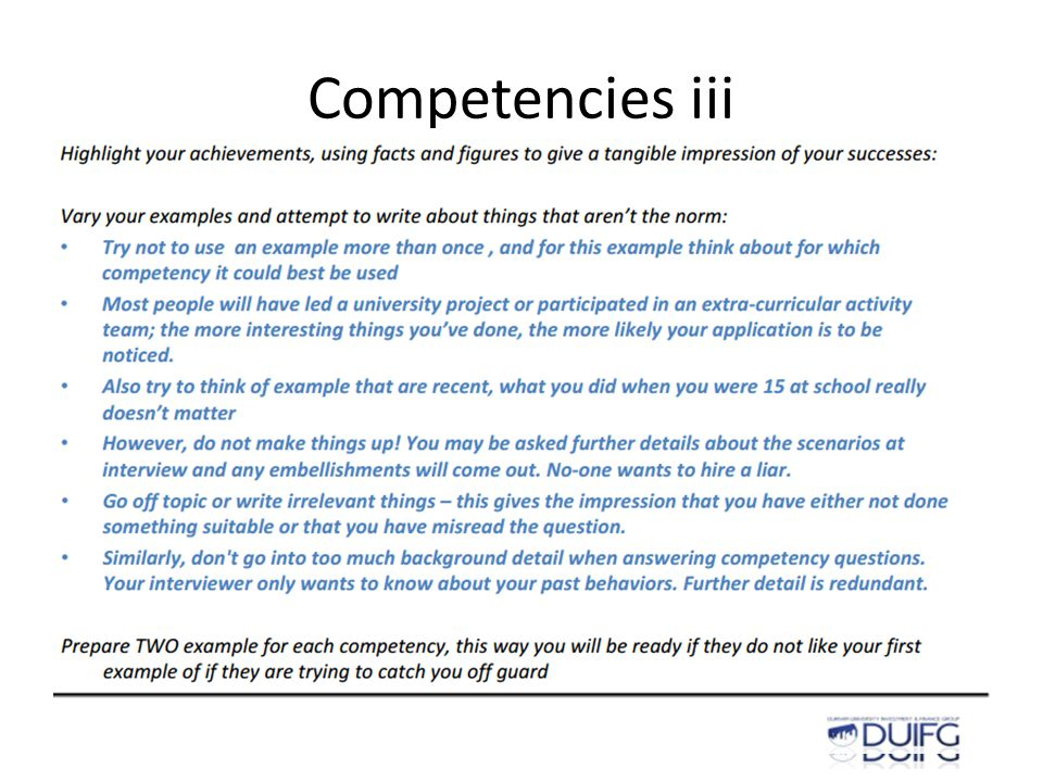 Competencies iii