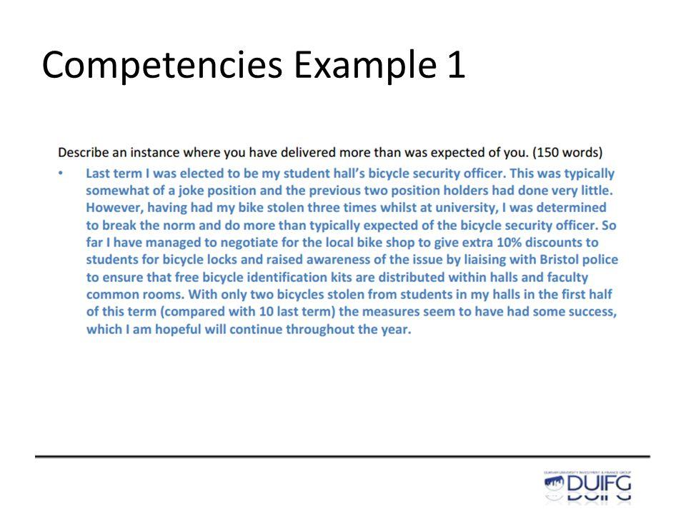 Competencies Example 1