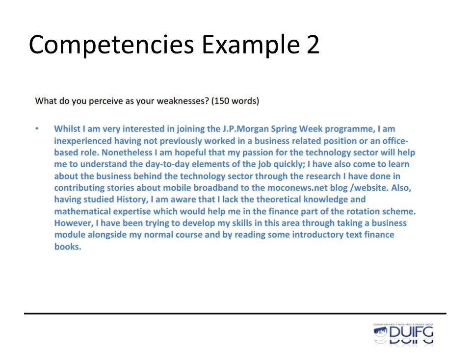 Competencies Example 2