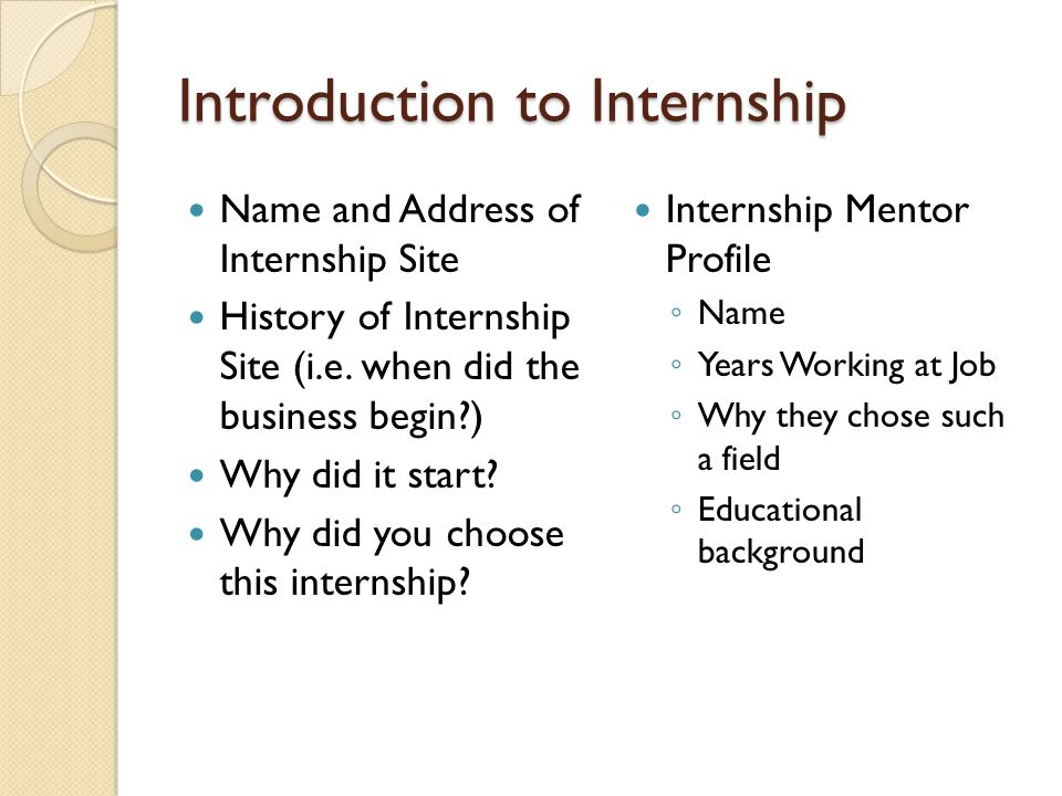 Introduction to Internship Name and Address of Internship Site History of Internship Site (i.e.