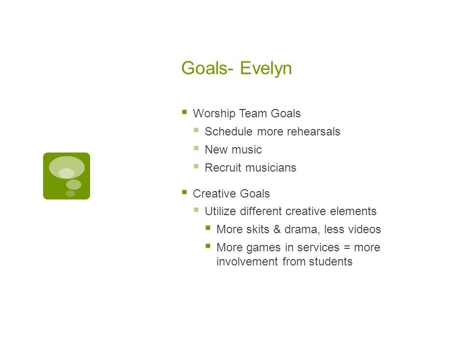 Goals- Evelyn  Worship Team Goals  Schedule more rehearsals  New music  Recruit musicians  Creative Goals  Utilize different creative elements 