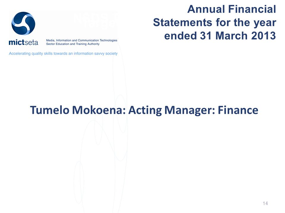 NSDS Target Target Annual Financial Statements for the year ended 31 March 2013 Tumelo Mokoena: Acting Manager: Finance 14