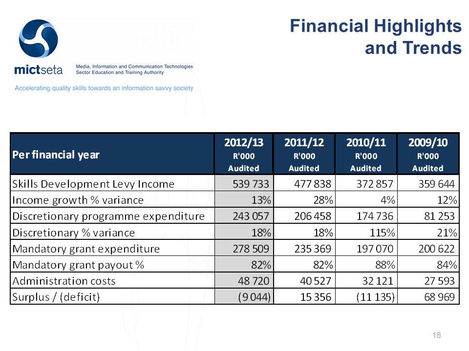 NSDS Target Target Financial Highlights and Trends 18