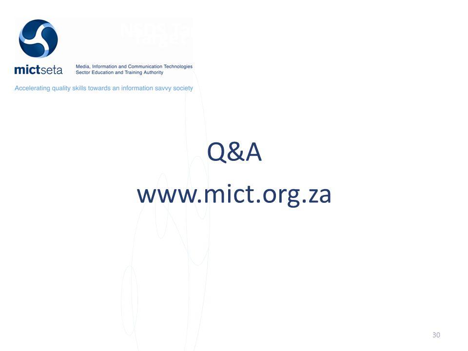 NSDS Target Target Q&A www.mict.org.za 30