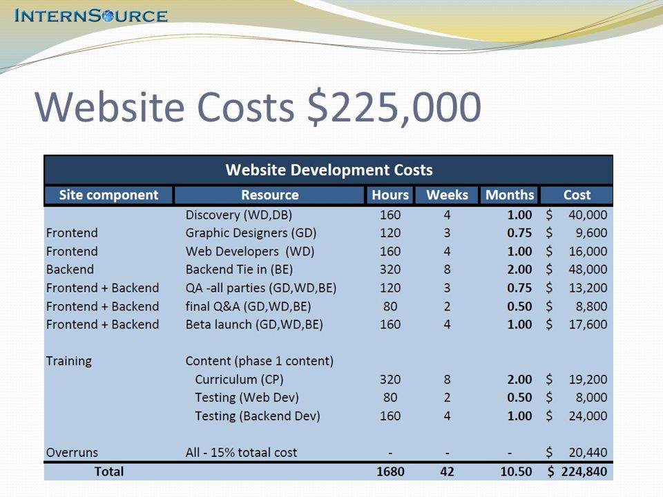Website Costs $225,000