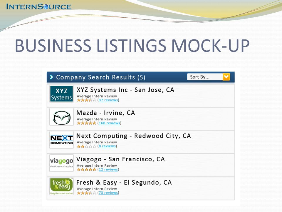 BUSINESS LISTINGS MOCK-UP