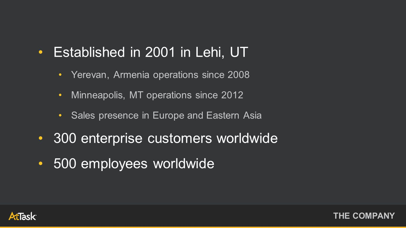 Established in 2001 in Lehi, UT Yerevan, Armenia operations since 2008 Minneapolis, MT operations since 2012 Sales presence in Europe and Eastern Asia