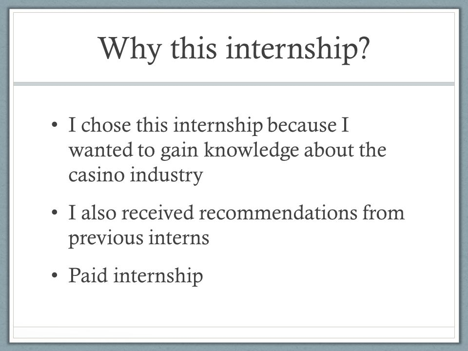 Why this internship.