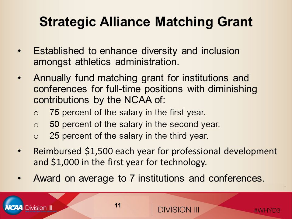 Strategic Alliance Matching Grant Established to enhance diversity and inclusion amongst athletics administration.