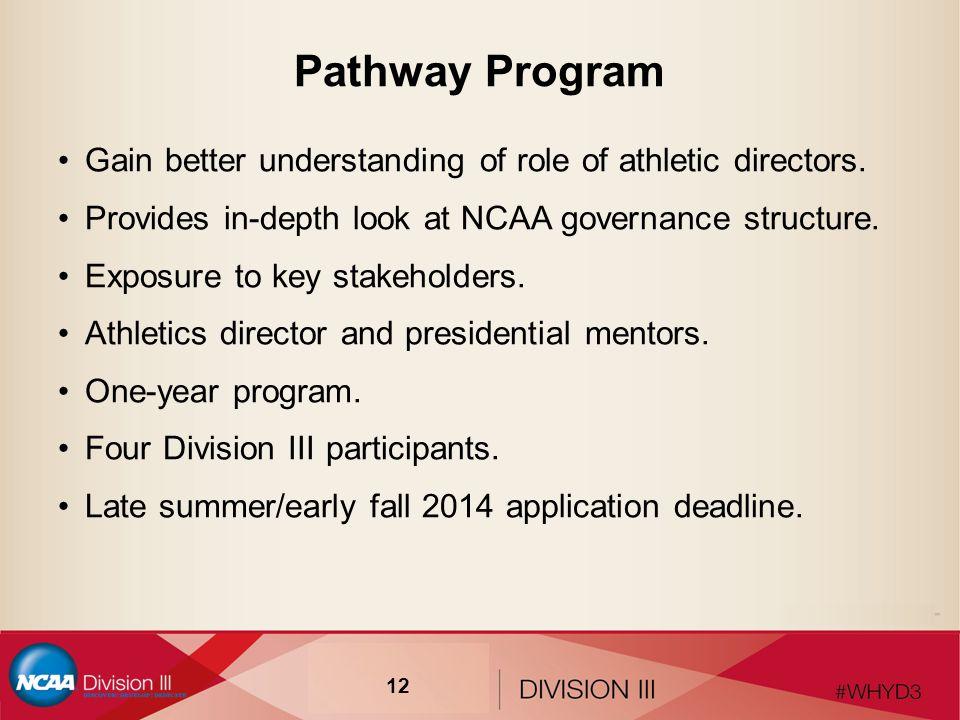 Pathway Program Gain better understanding of role of athletic directors.