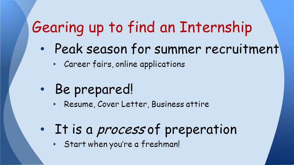 Peak season for summer recruitment Career fairs, online applications Be prepared.