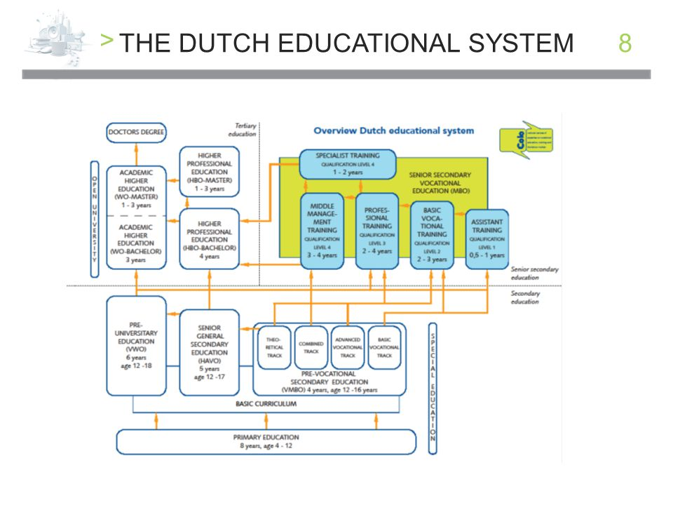 > 9DUTCH EDUCATION >YOU HAVE TO GO TO SCHOOL UNTIL YOU'RE 18 AND YOU HAVE YOUR BASIC QUALIFICATION >YOU CAN ONLY START ON A NEXT LEVEL WITH A DIPLOMA >ON LEVEL 4 THERE ARE 269 QUALIFICATIONS CALLED DOSSIERS THEY CAN BE DONE SCHOOLBASED OR IN AN APPRENTICESHIP