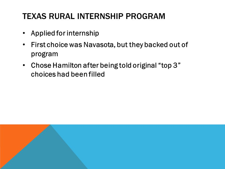 TEXAS RURAL INTERNSHIP PROGRAM Applied for internship First choice was Navasota, but they backed out of program Chose Hamilton after being told original top 3 choices had been filled