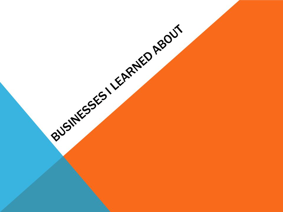 BUSINESSES I LEARNED ABOUT