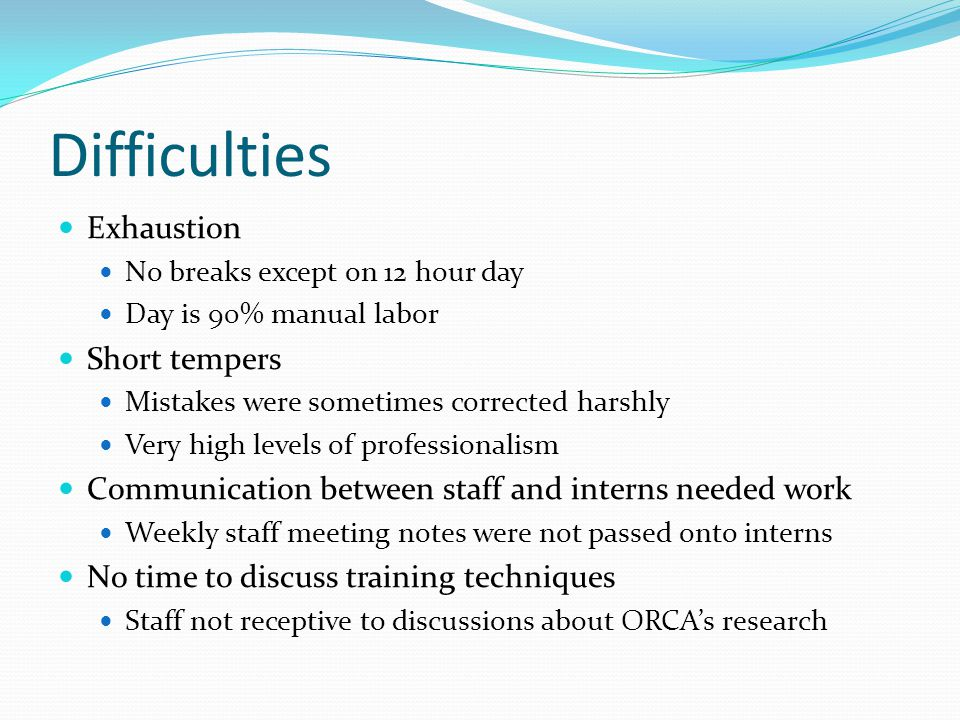 Difficulties Exhaustion No breaks except on 12 hour day Day is 90% manual labor Short tempers Mistakes were sometimes corrected harshly Very high levels of professionalism Communication between staff and interns needed work Weekly staff meeting notes were not passed onto interns No time to discuss training techniques Staff not receptive to discussions about ORCA's research