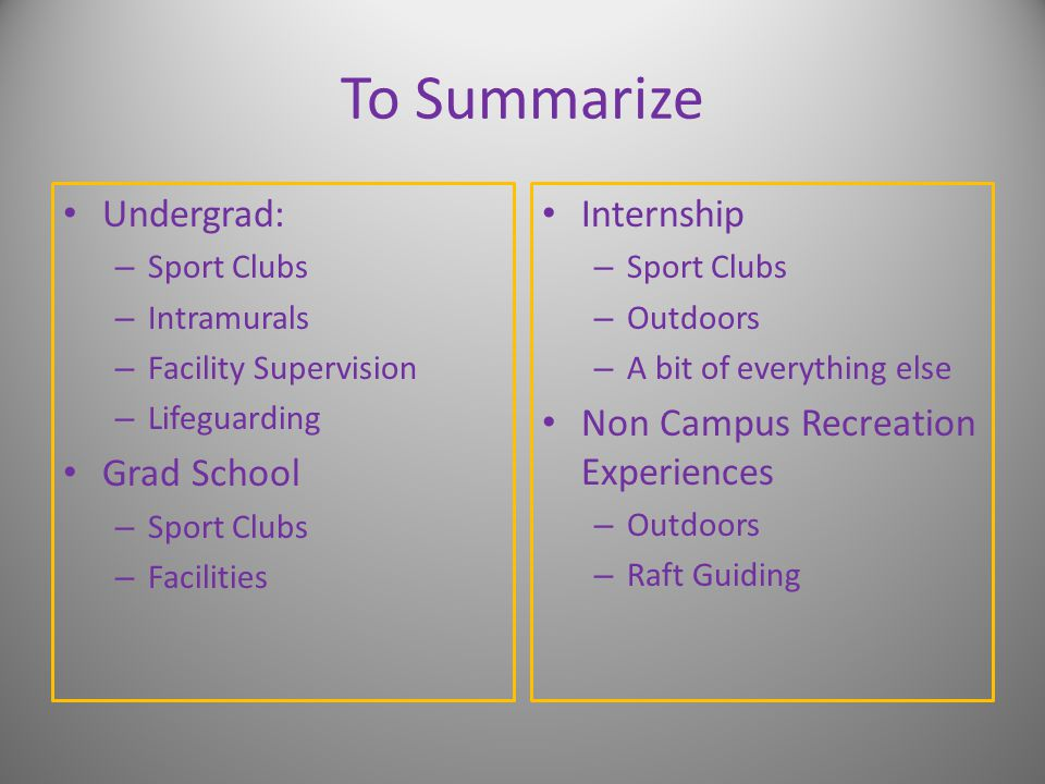 To Summarize Undergrad: – Sport Clubs – Intramurals – Facility Supervision – Lifeguarding Grad School – Sport Clubs – Facilities Internship – Sport Clubs – Outdoors – A bit of everything else Non Campus Recreation Experiences – Outdoors – Raft Guiding