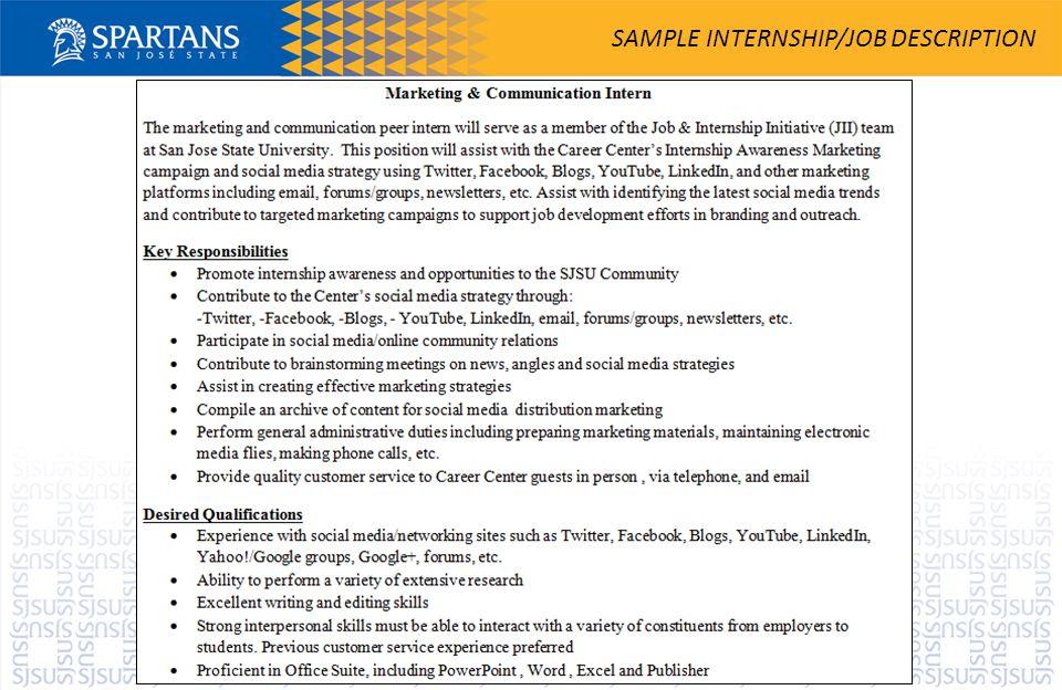 SAMPLE INTERNSHIP/JOB DESCRIPTION