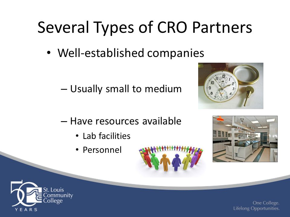 Several Types of CRO Partners Well-established companies – Usually small to medium – Have resources available Lab facilities Personnel
