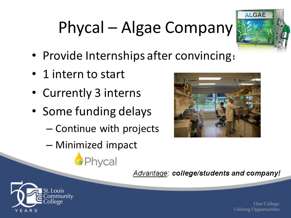 Phycal – Algae Company Provide Internships after convincing! 1 intern to start Currently 3 interns Some funding delays – Continue with projects – Mini