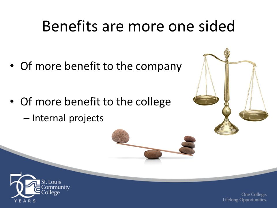 Benefits are more one sided Of more benefit to the company Of more benefit to the college – Internal projects