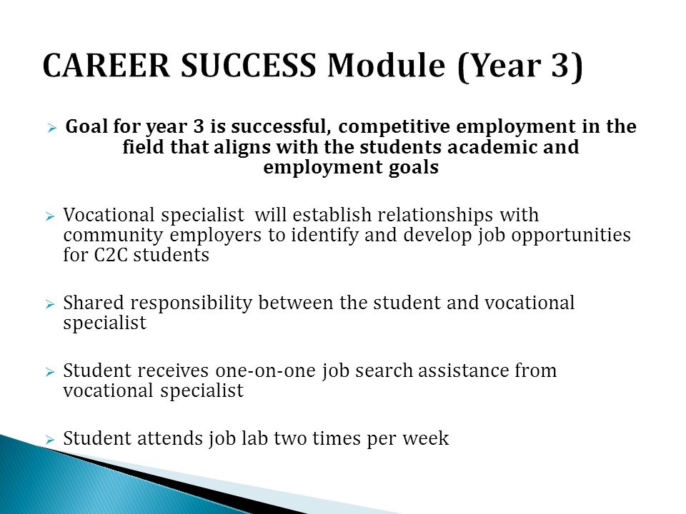  Goal for year 3 is successful, competitive employment in the field that aligns with the students academic and employment goals  Vocational speciali