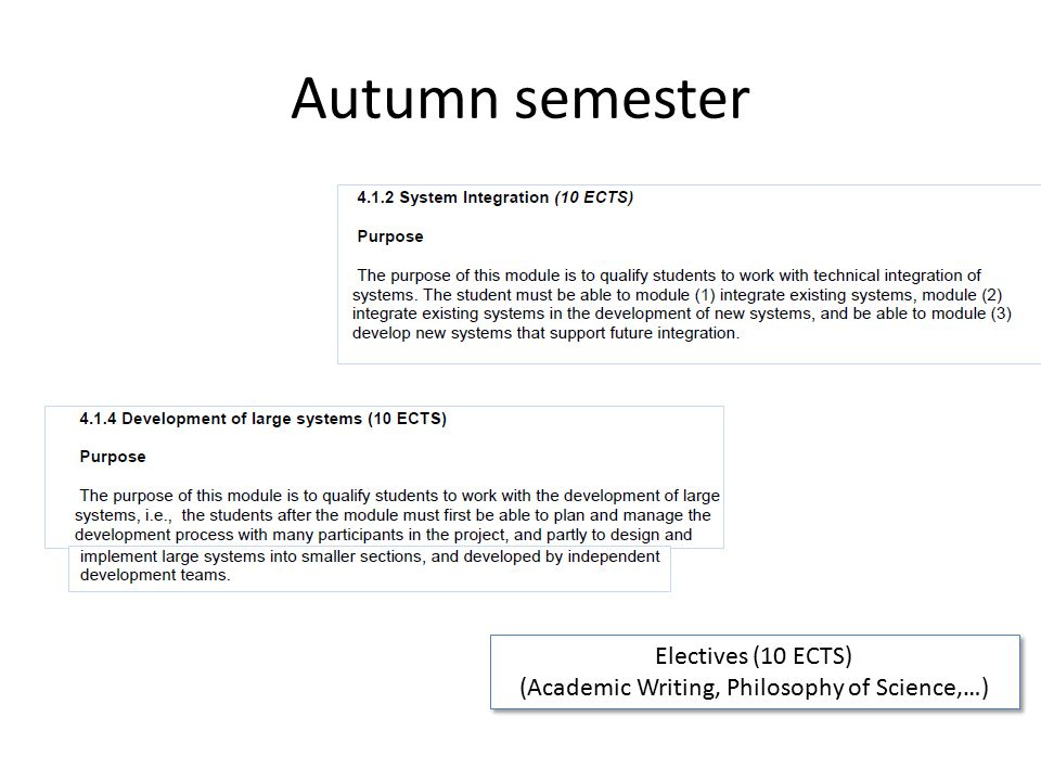 Autumn semester Electives (10 ECTS) (Academic Writing, Philosophy of Science,…) Electives (10 ECTS) (Academic Writing, Philosophy of Science,…)