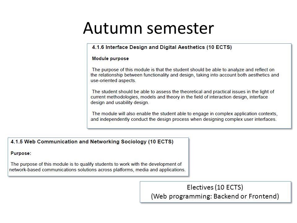 Autumn semester Electives (10 ECTS) (Web programming: Backend or Frontend) Electives (10 ECTS) (Web programming: Backend or Frontend)