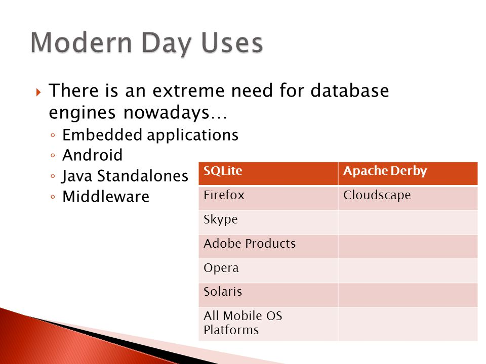  There is an extreme need for database engines nowadays… ◦ Embedded applications ◦ Android ◦ Java Standalones ◦ Middleware SQLiteApache Derby FirefoxCloudscape Skype Adobe Products Opera Solaris All Mobile OS Platforms