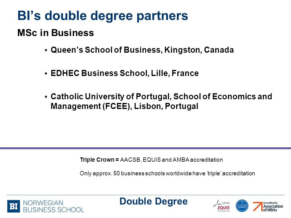 BI's double degree partners MSc in Business Queen's School of Business, Kingston, Canada EDHEC Business School, Lille, France Catholic University of Portugal, School of Economics and Management (FCEE), Lisbon, Portugal Double Degree Triple Crown = AACSB, EQUIS and AMBA accreditation Only approx.