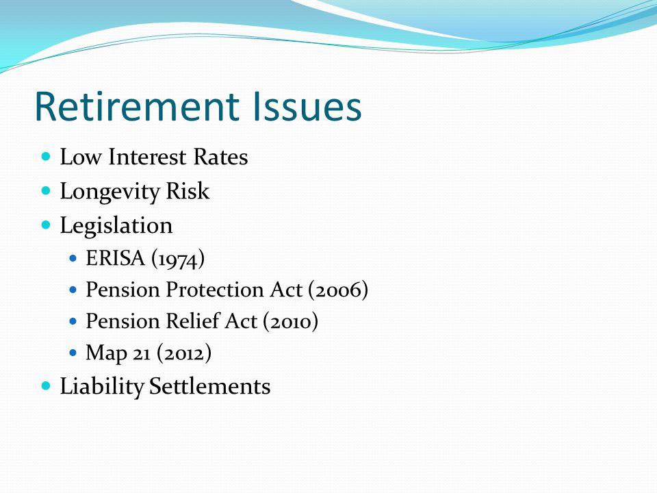 Retirement Issues Low Interest Rates Longevity Risk Legislation ERISA (1974) Pension Protection Act (2006) Pension Relief Act (2010) Map 21 (2012) Liability Settlements
