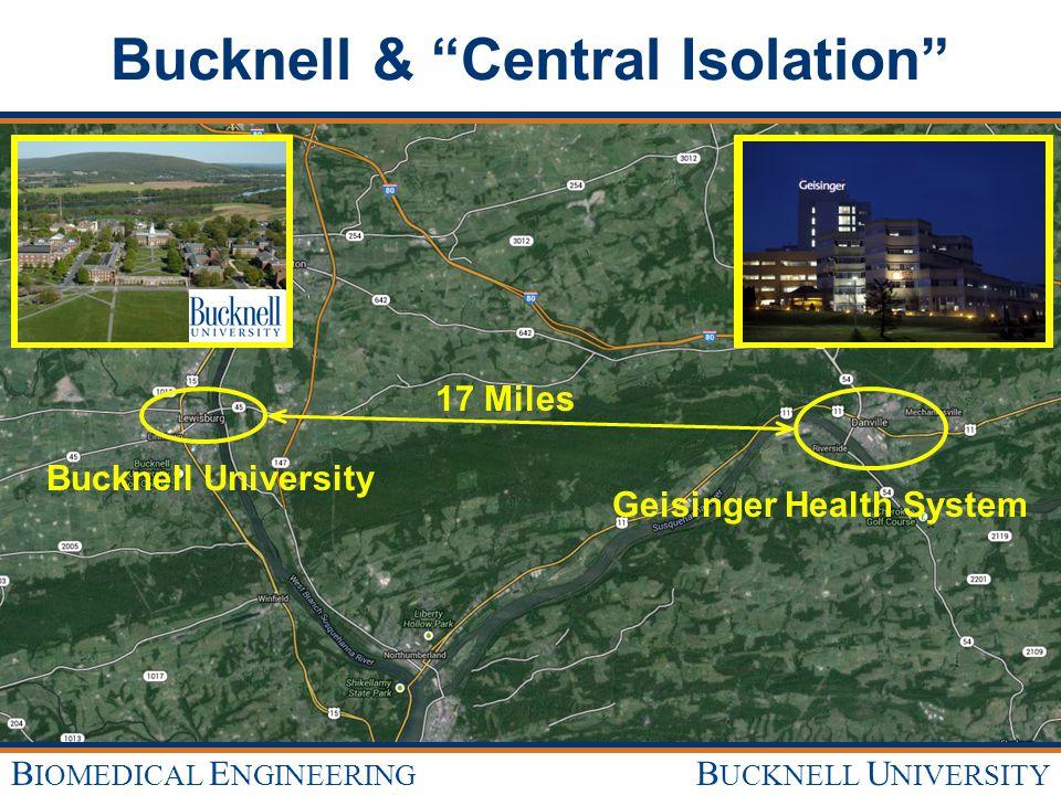 B UCKNELL U NIVERSITY B IOMEDICAL E NGINEERING Bucknell & Central Isolation 17 Miles Geisinger Health System Bucknell University