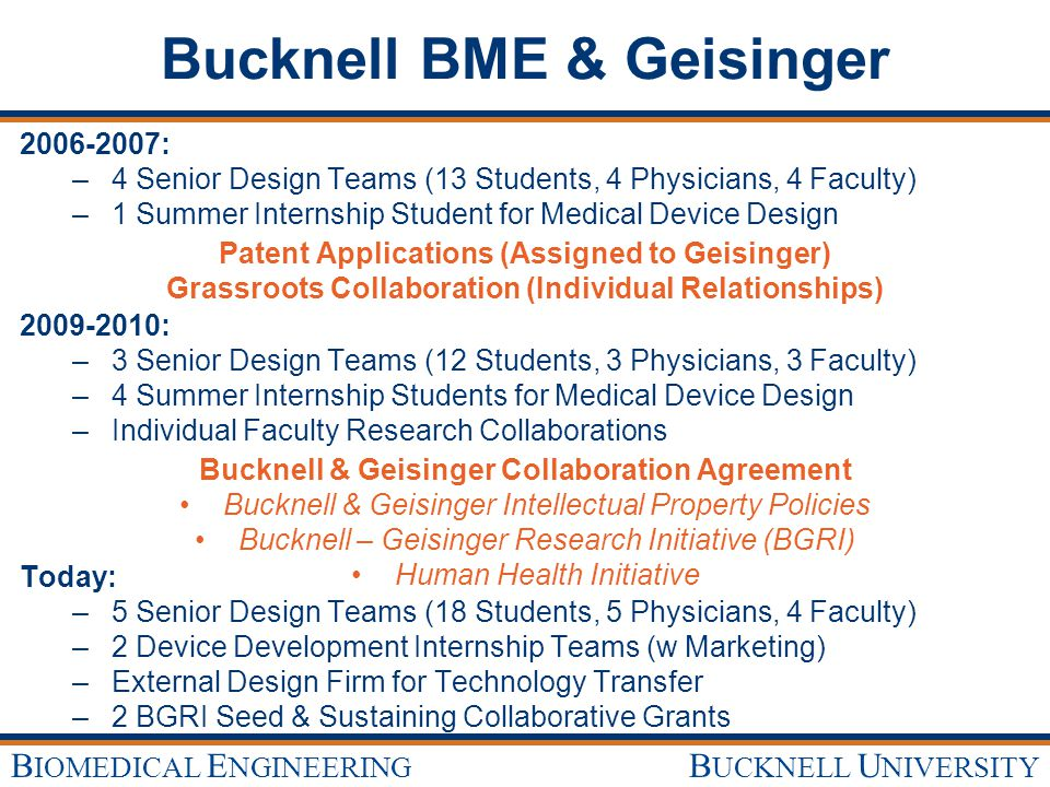 B UCKNELL U NIVERSITY B IOMEDICAL E NGINEERING Bucknell BME & Geisinger 2006-2007: – –4 Senior Design Teams (13 Students, 4 Physicians, 4 Faculty) – –