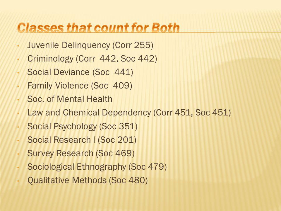 Juvenile Delinquency (Corr 255) Criminology (Corr 442, Soc 442) Social Deviance (Soc 441) Family Violence (Soc 409) Soc. of Mental Health Law and Chem
