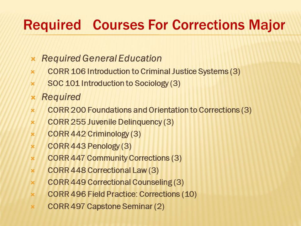 Required Courses For Corrections Major  Required General Education  CORR 106 Introduction to Criminal Justice Systems (3)  SOC 101 Introduction to Sociology (3)  Required  CORR 200 Foundations and Orientation to Corrections (3)  CORR 255 Juvenile Delinquency (3)  CORR 442 Criminology (3)  CORR 443 Penology (3)  CORR 447 Community Corrections (3)  CORR 448 Correctional Law (3)  CORR 449 Correctional Counseling (3)  CORR 496 Field Practice: Corrections (10)  CORR 497 Capstone Seminar (2)