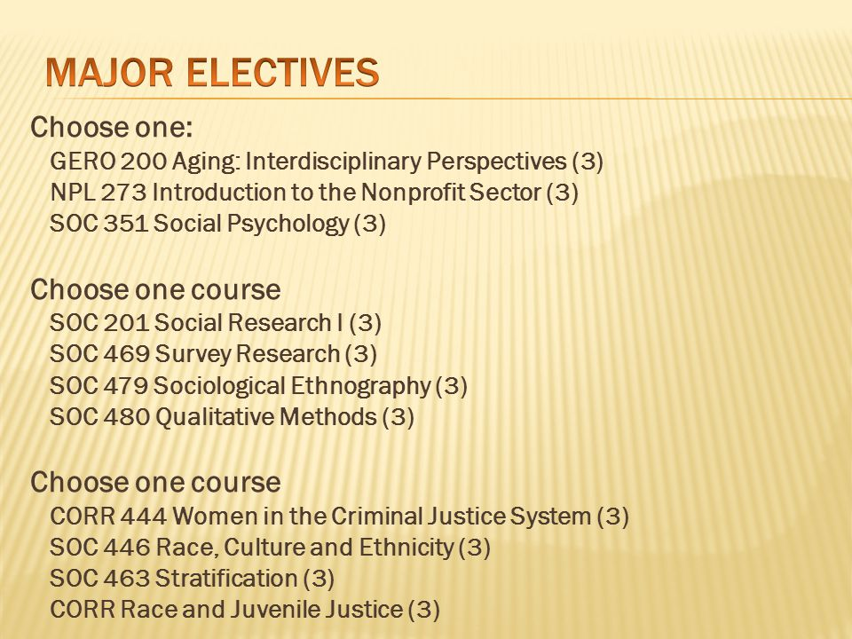 Foundations/Orientation to Corrections (CORR 200) Take this course as soon as possible Prepare for 50 hours of service learning outside of class First professional experience in the field (for most) Treat it as professionally/responsibly as a paid job Corrections isn't for everyone; the course helps you make sure it's the right major for you, so take it early, not later!