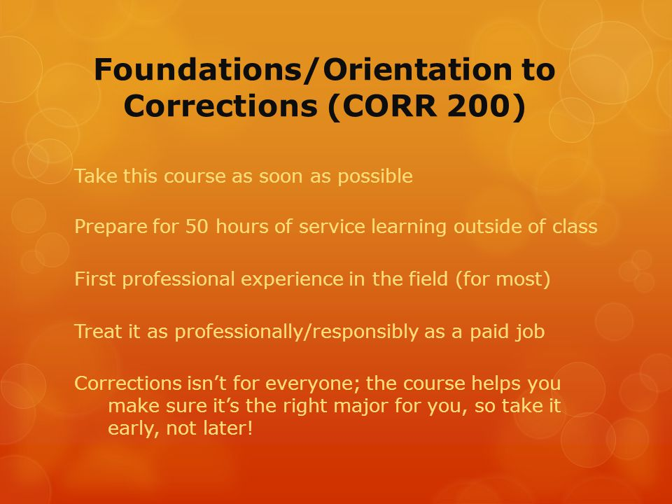 JOLT: Joint Opportunities to Learn and Thrive (Corr 250, Corr 255)  If interested in working in juvenile probation:  Class co-taught with probation officers at Blue Earth Community Corrections, class held at Justice Center,  4 hours a week as a professional mentor to a youth on probation  3 hours a week assisting a probation officer in a program in probation  Year long program, JOLT I & JOLT II  Must apply, complete a background check, and interviewed  Applications available Spring term before registration – watch for announcements