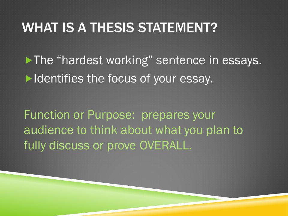Where is the thesis statement located.