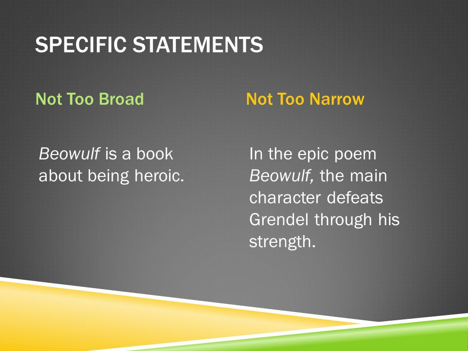 TAKES A POSITION X There are many reasons why Beowulf is a hero.