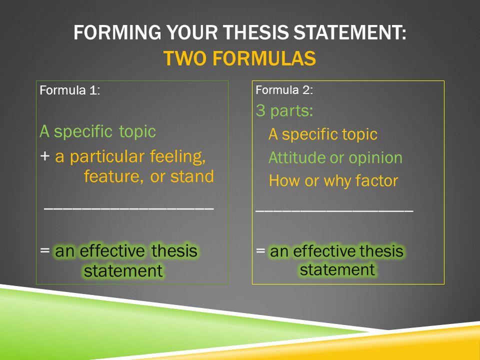 EXAMPLES: Formula 1: Writing to inform Formula 2: Writing an argument