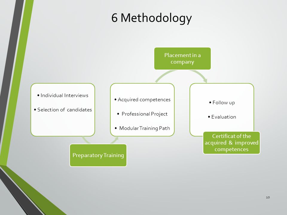 6 Methodology 10 Individual Interviews Selection of candidates Preparatory Training Acquired competences Professional Project Modular Training Path Pl